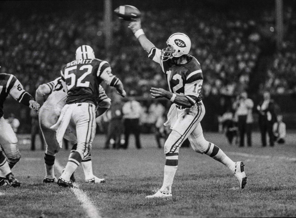 Namath's 1970 opener: 298 passing yards and one TD...but three picks, too.