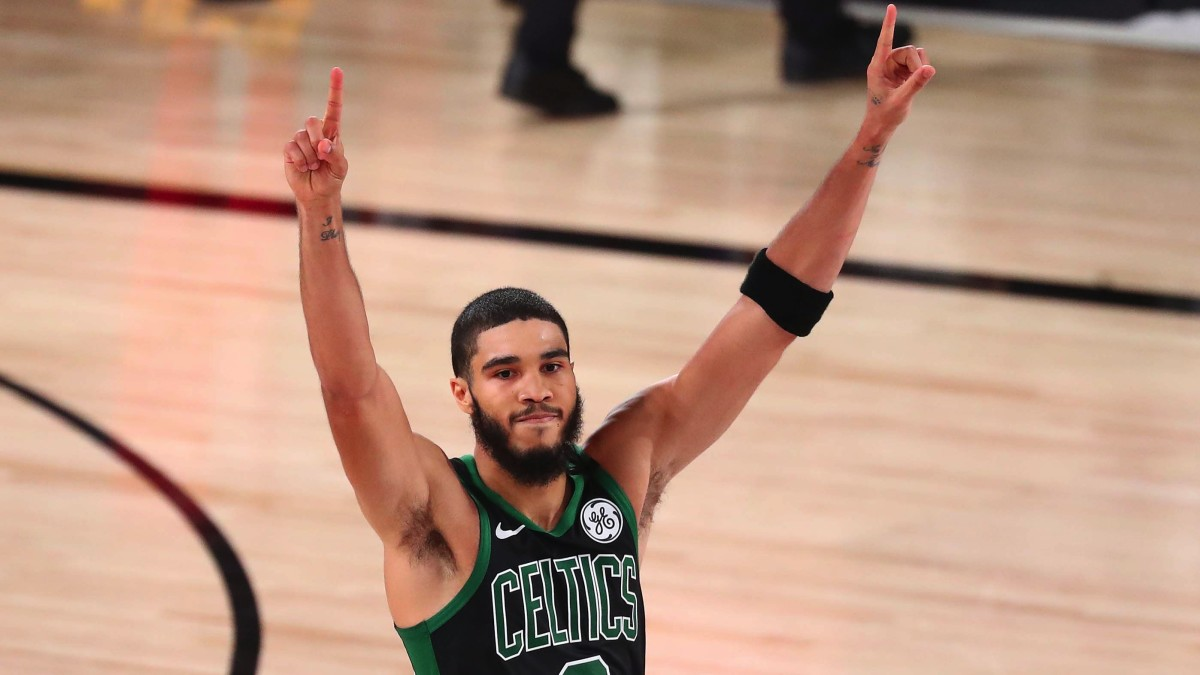 Boston Celtics forward Jayson Tatum (0) celebrates after defeating the Toronto Raptors in game seven of the second round of the 2020 NBA Playoffs at ESPN Wide World of Sports Complex.