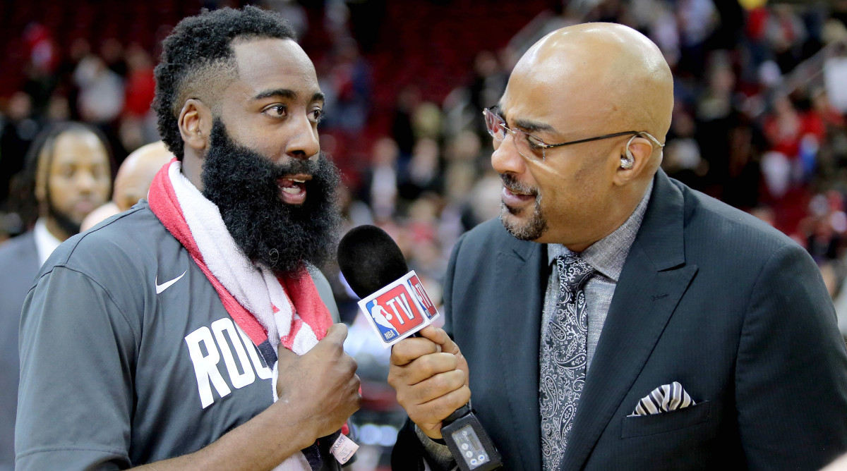 Dec 31, 2019; Houston, Texas, USA; Houston Rockets guard James Harden (13) speaks to NBA TV reporter Dennis Scott following the game against the Denver Nuggets at Toyota Center.