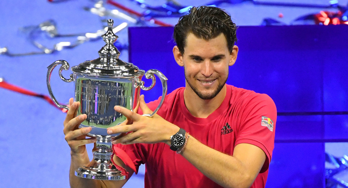 Dominic Thiem of Austria celebrates his win over Alexander Zverev of Germany in the men's singles final match on day 14 of the 2020 U.S. Open tennis tournament