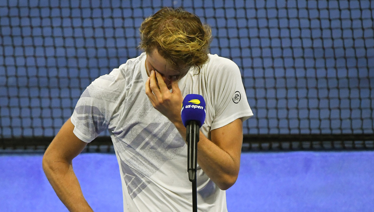 Alexander Zverev of Germany gets emotional as he address the crowd for the runner-up in the men's singles final match against Dominic Thiem of Austria on day 14 of the 2020 U.S. Open