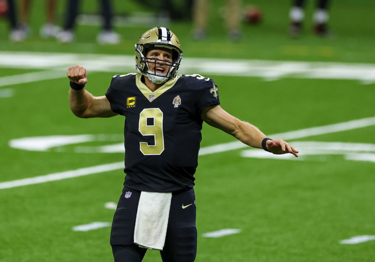 Sep 13, 2020; New Orleans, Louisiana, USA; New Orleans Saints quarterback Drew Brees (9) celebrates after throwing a touchdown during the fourth quarter against the Tampa Bay Buccaneers at the Mercedes-Benz Superdome