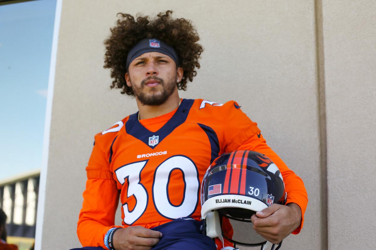 Portrait of Broncos running back Phillip Lindsay