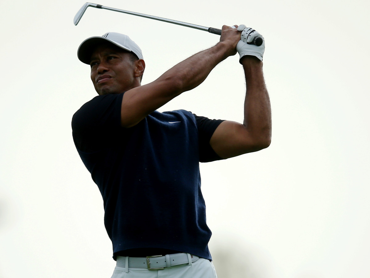Sep 17, 2020; Mamaroneck, New York, USA; Tiger Woods hits a tee shot on the 6th hole during the first round of the U.S. Open golf tournament at Winged Foot Golf Club - West.