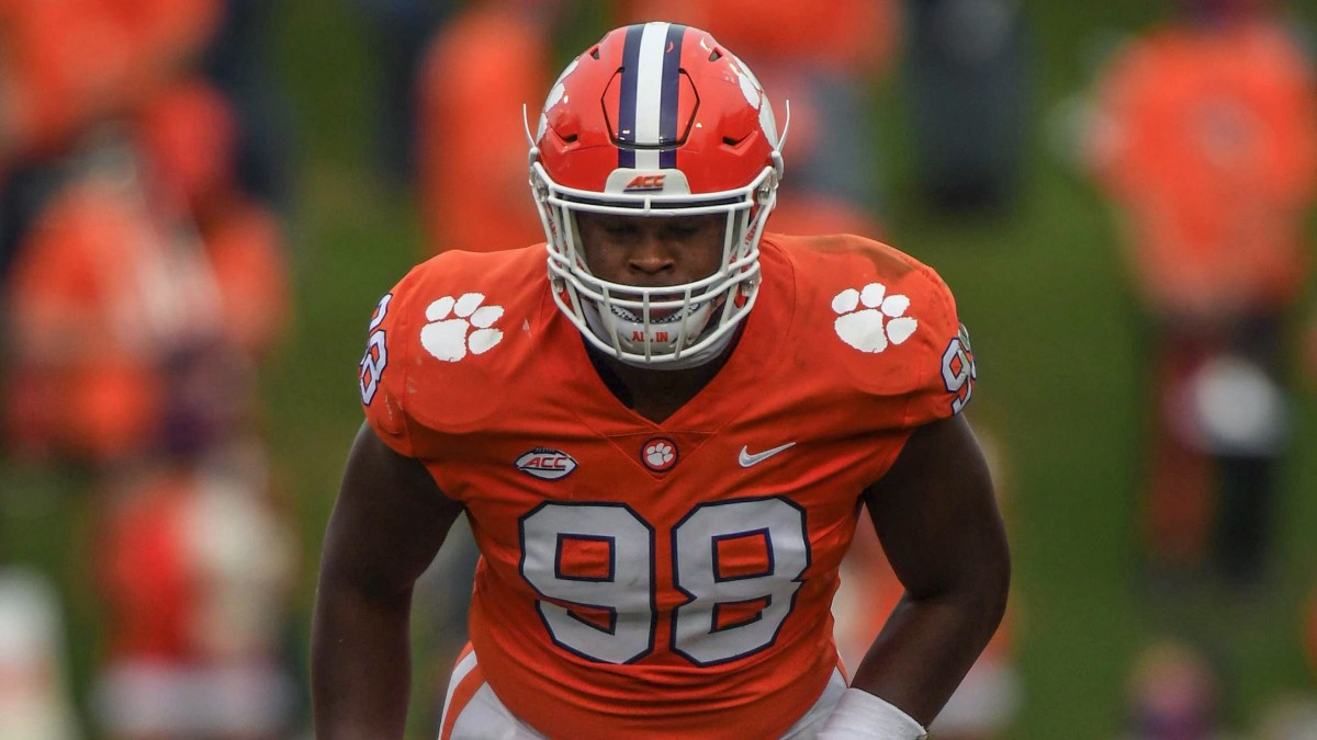 Clemson defensive end Myles Murphy(98) lines up against The Citadel during the second quarter of the game Saturday, Sept. 19, 2020 at Memorial Stadium in Clemson, S.C. Clemson The Citadel Ncaa Footba...