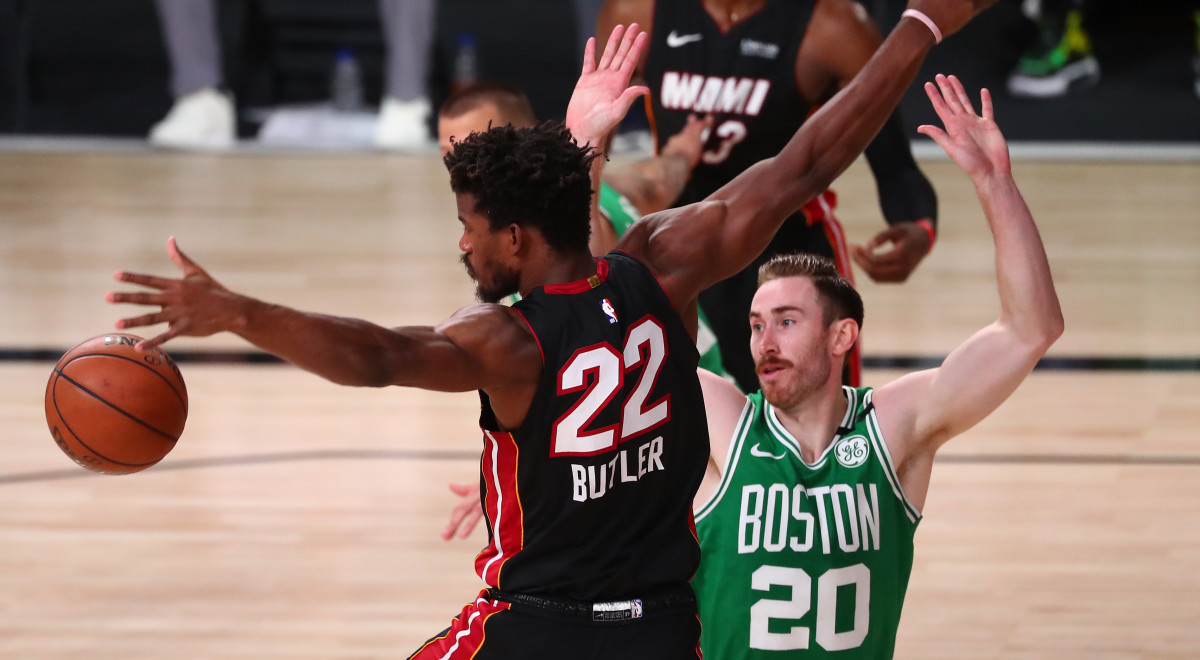 Boston Celtics forward Gordon Hayward (20) causes a turnover by Miami Heat forward Jimmy Butler (22) during the first half of game three of the Eastern Conference Finals of the 2020 NBA Playoffs