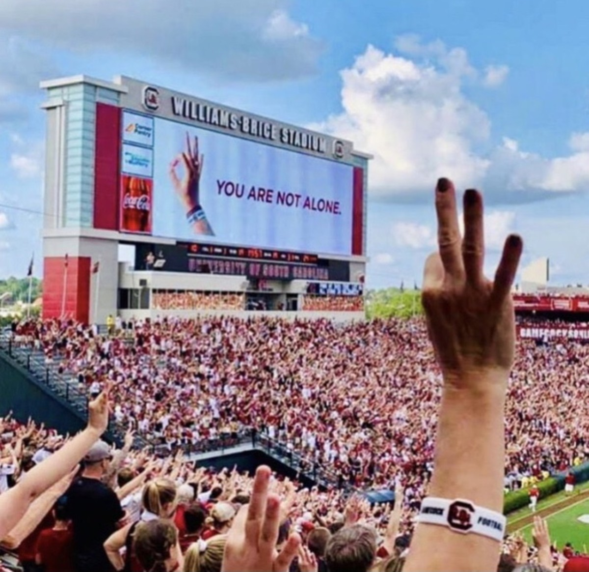 Fans at Williams-Brice Stadium hold up No. 3 in honor of Tyler Hilinski