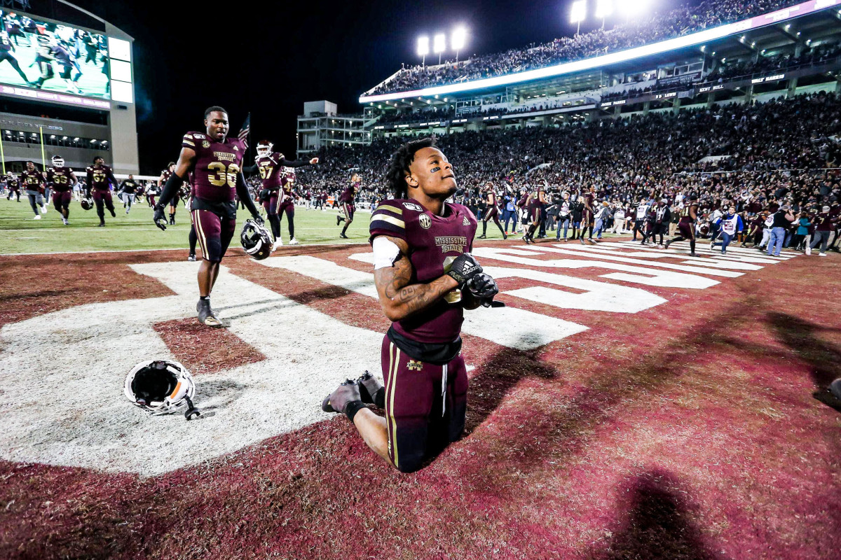 Kylin Hill in the end zone after Mississippi State won the Egg Bowl