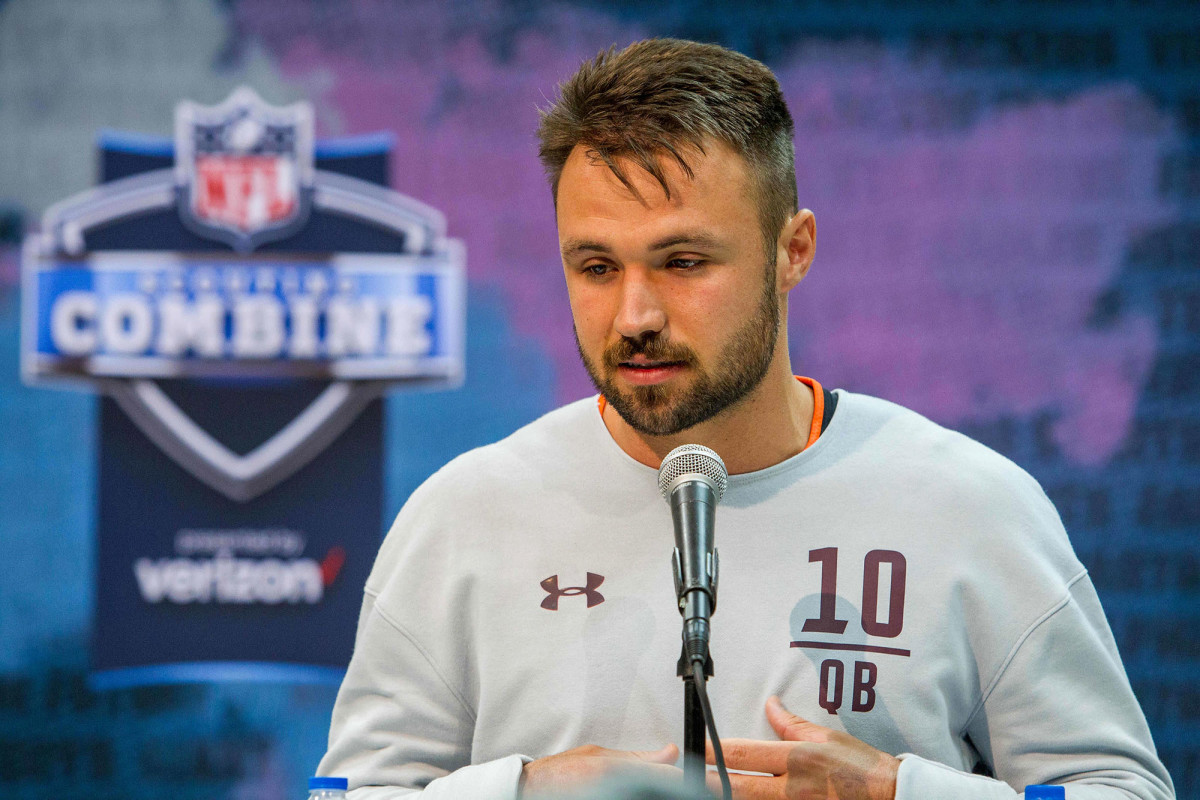 Gardner Minshew with a beard at the NFL combine