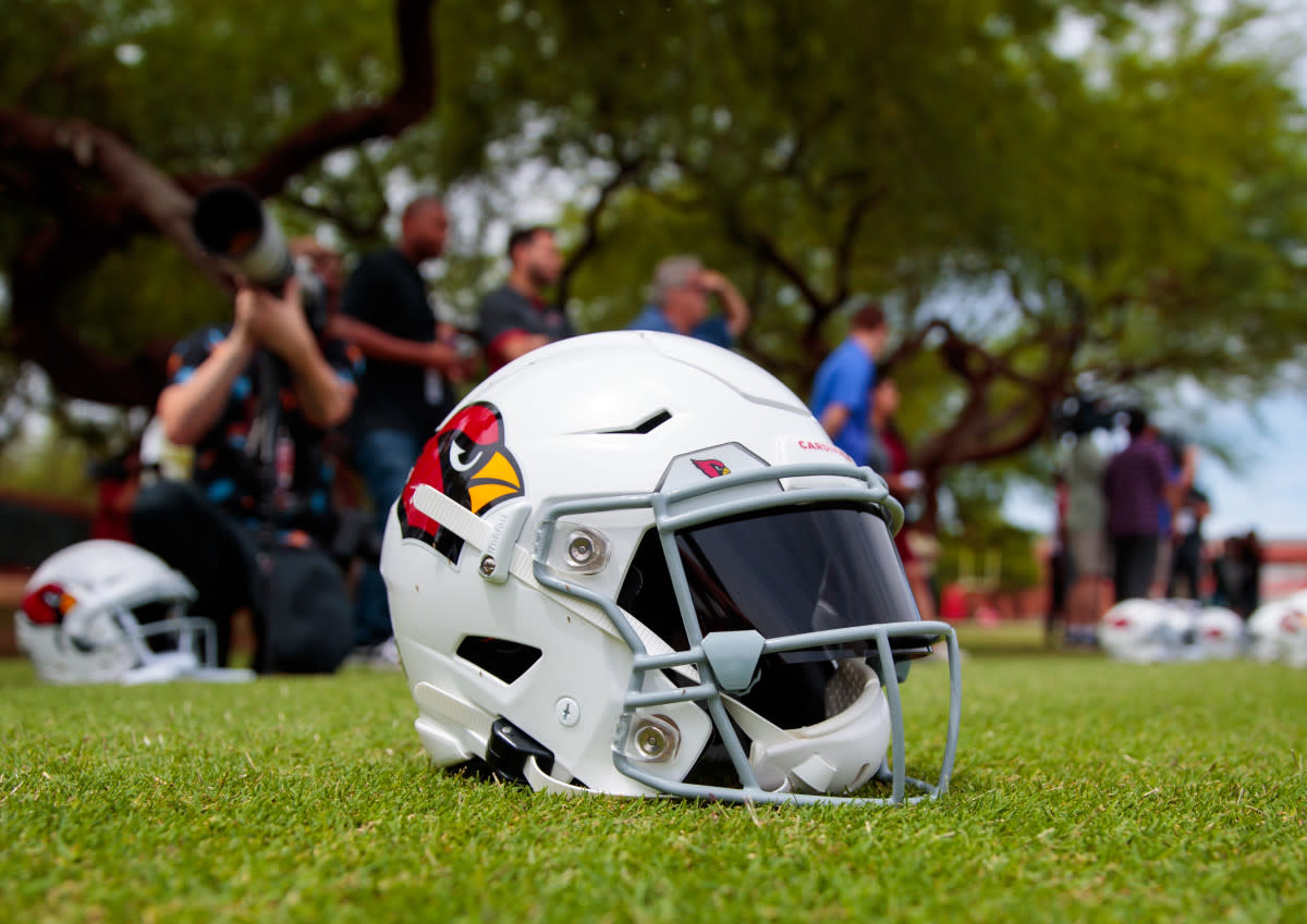 The helmet of Cardinals quarterback Kyler Murray, pictured during 2019 training camp. Murray hopes to become the next great Cardinals quarterback to wear the red and white.