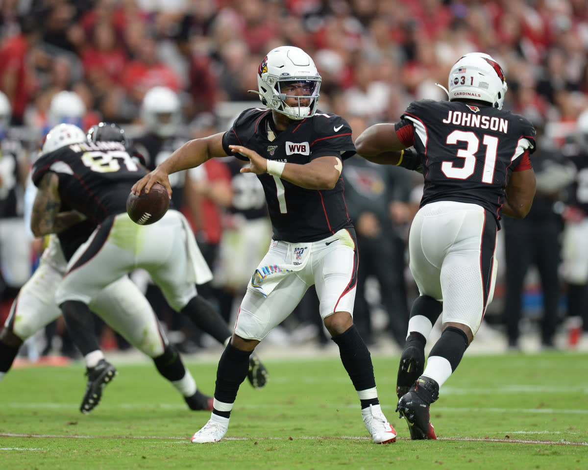 Cardinals quarterback Kyler Murray throws a pass against the Falcons during a game at State Farm Stadium. He was named the NFL's 2019 Offensive Rookie of the Year after breaking numerous franchise rookie records.