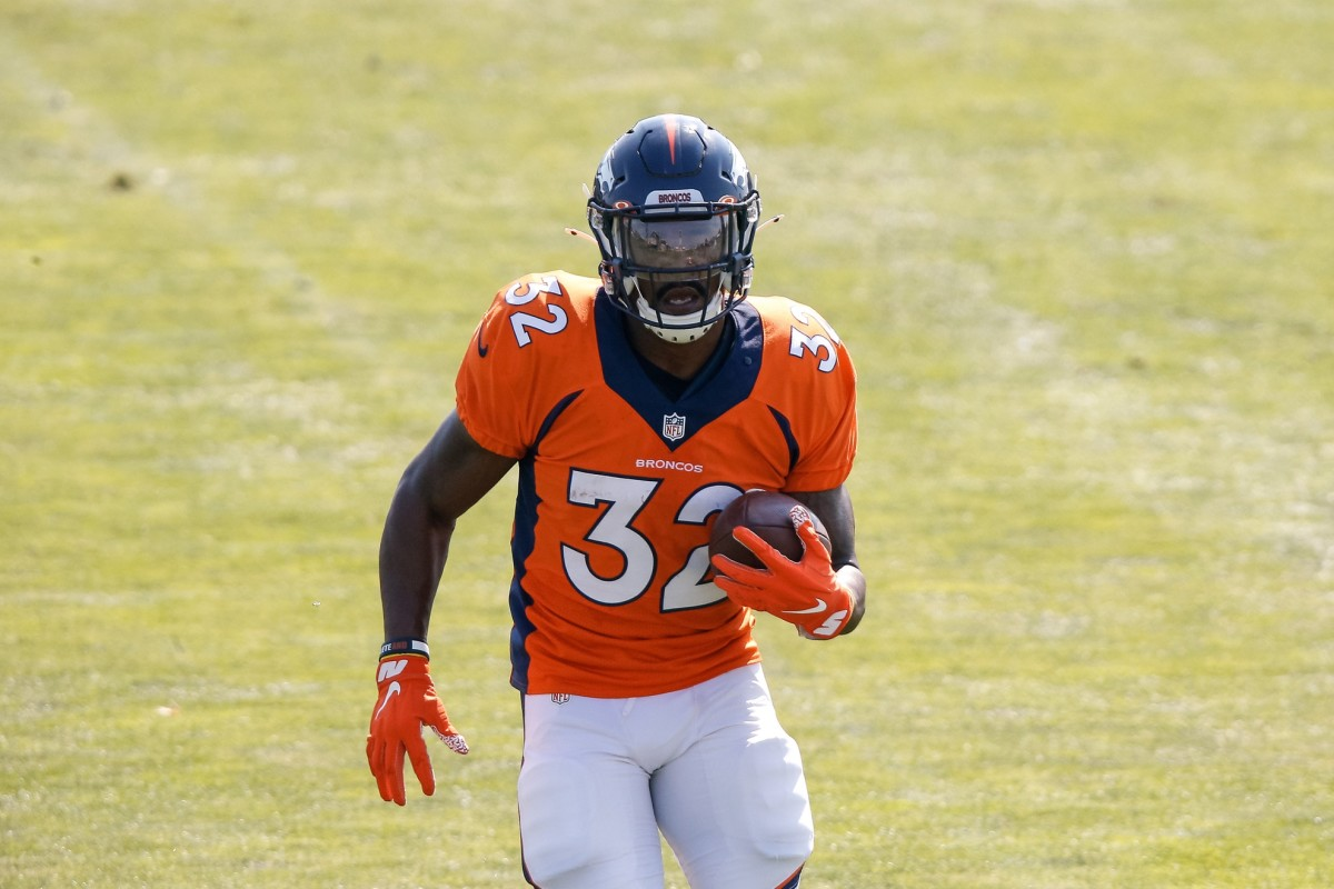 Denver Broncos running back LeVante Bellamy (32) during training camp at Dove Valley.