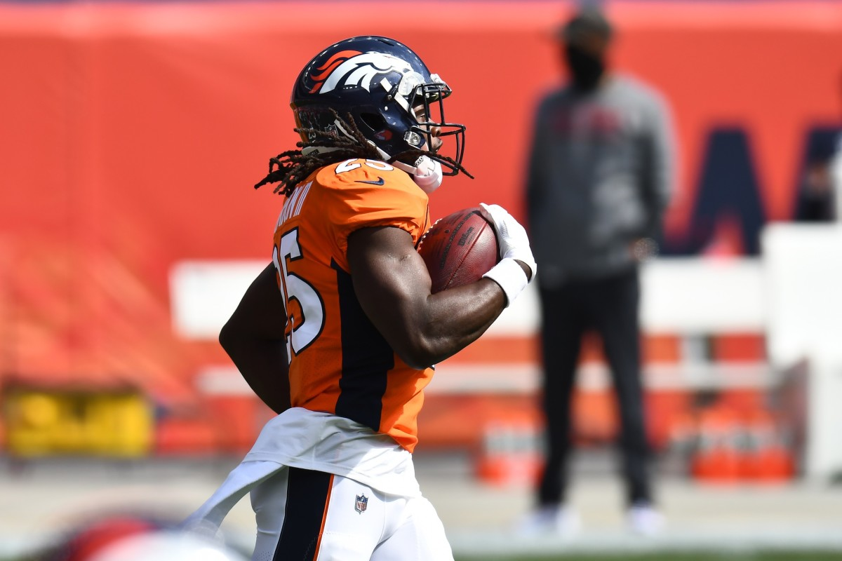 Denver Broncos running back Melvin Gordon (25) before the game against the Tampa Bay Buccaneers at Mile High.