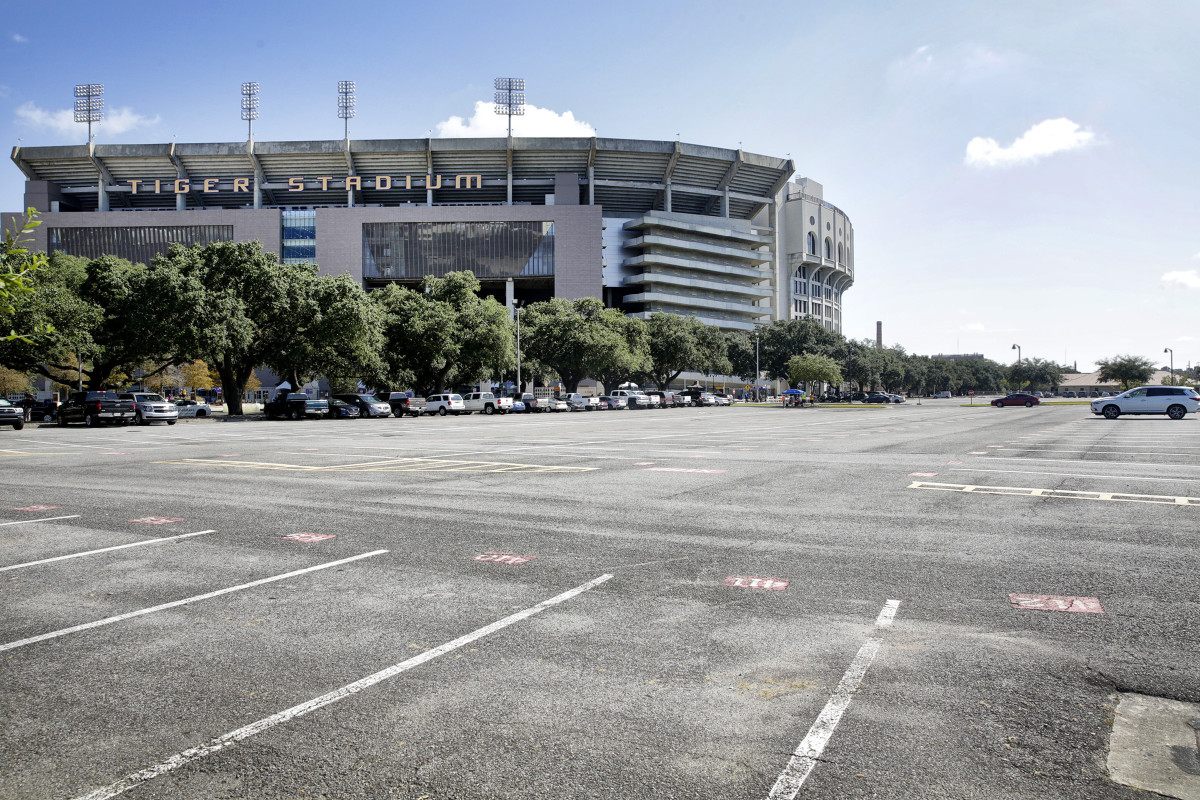 A nearly empty Tiger Stadium parking lot sits on LSU game day