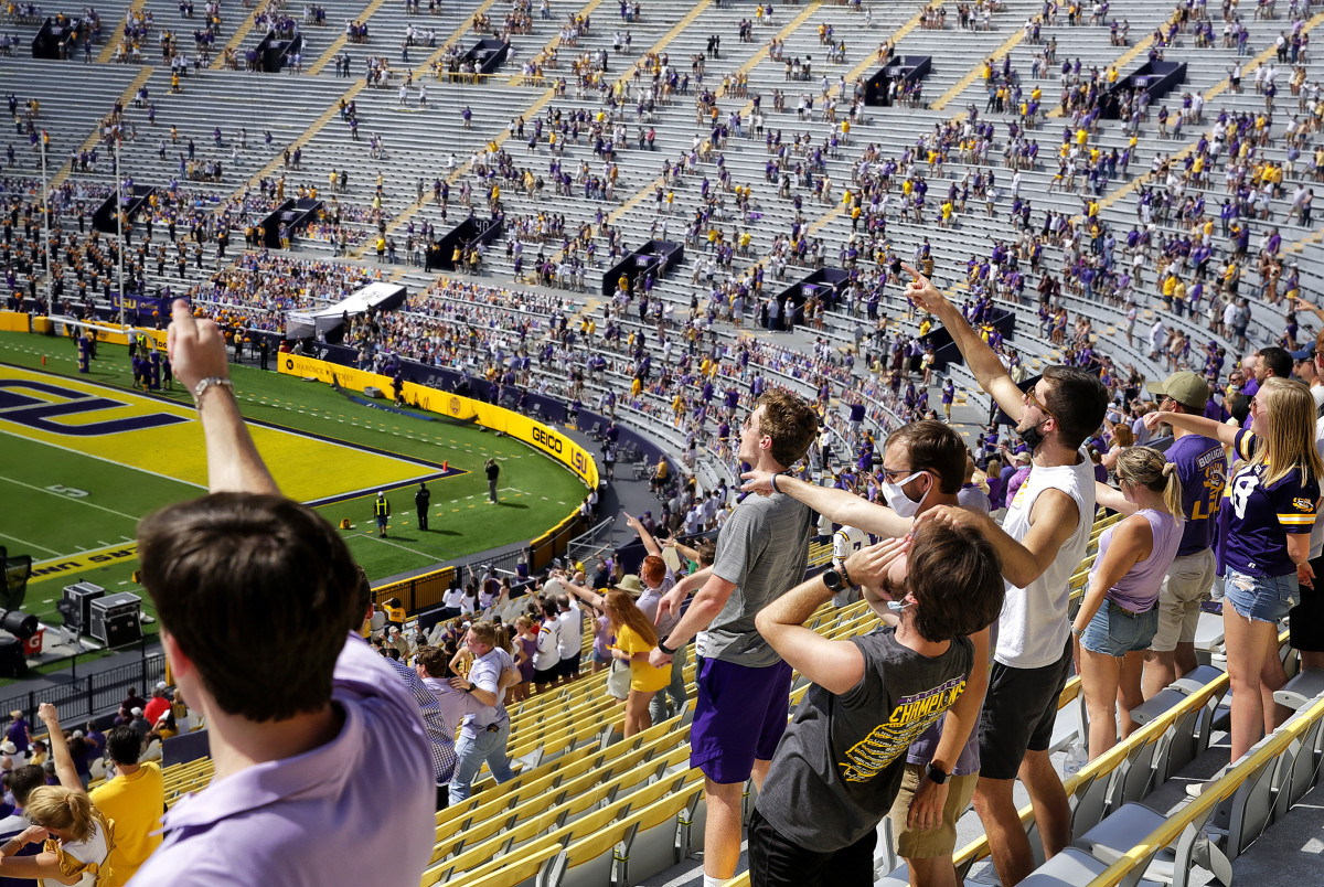A reduced-capacity crowd cheers on LSU vs. Mississippi State