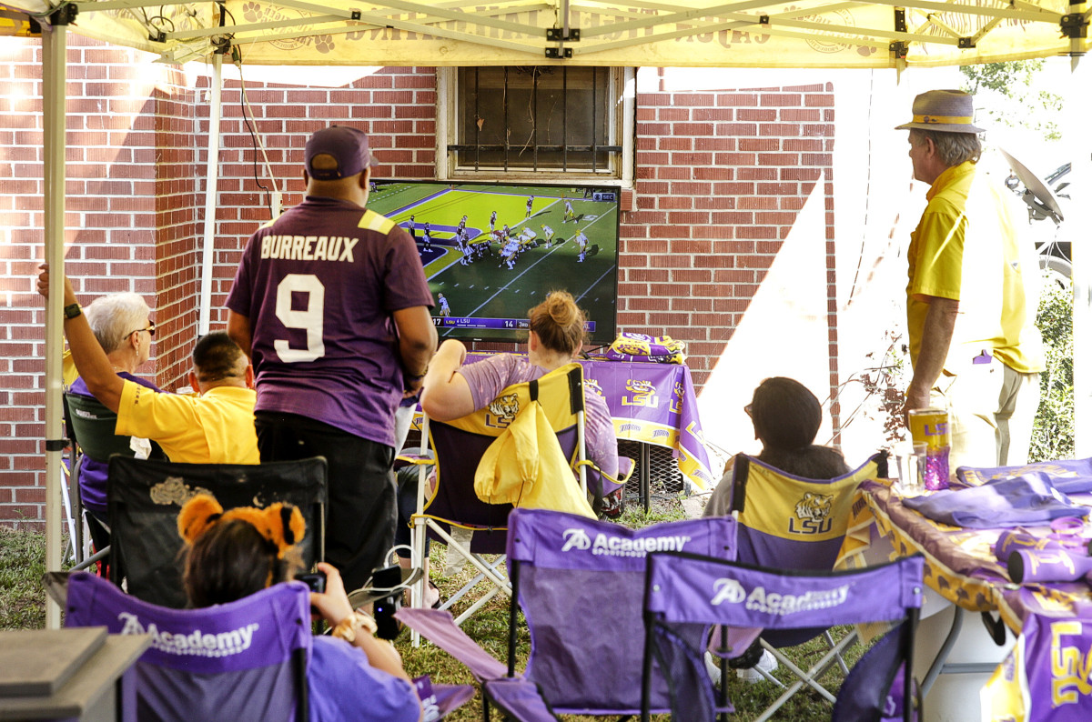 LSU fans tailgate off-campus and watch the Tigers' 2020 season opener