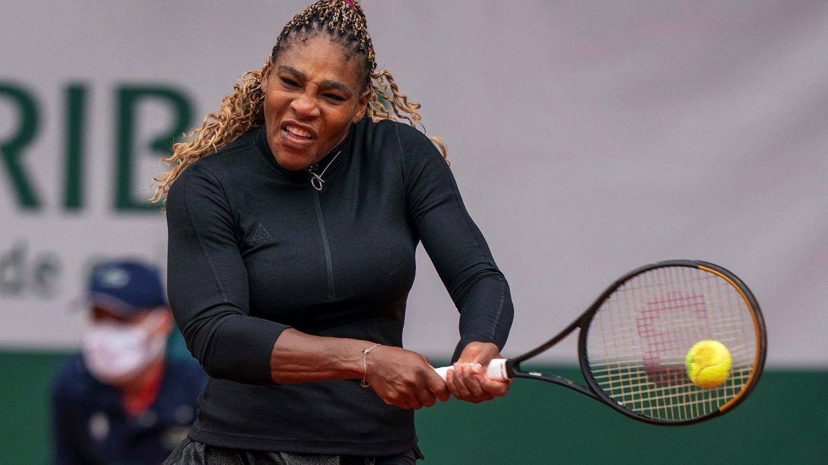 Serena Williams (USA) in action during her match against Kristie Ahn (USA) on day two of the 2020 French Open at Stade Roland Garros.