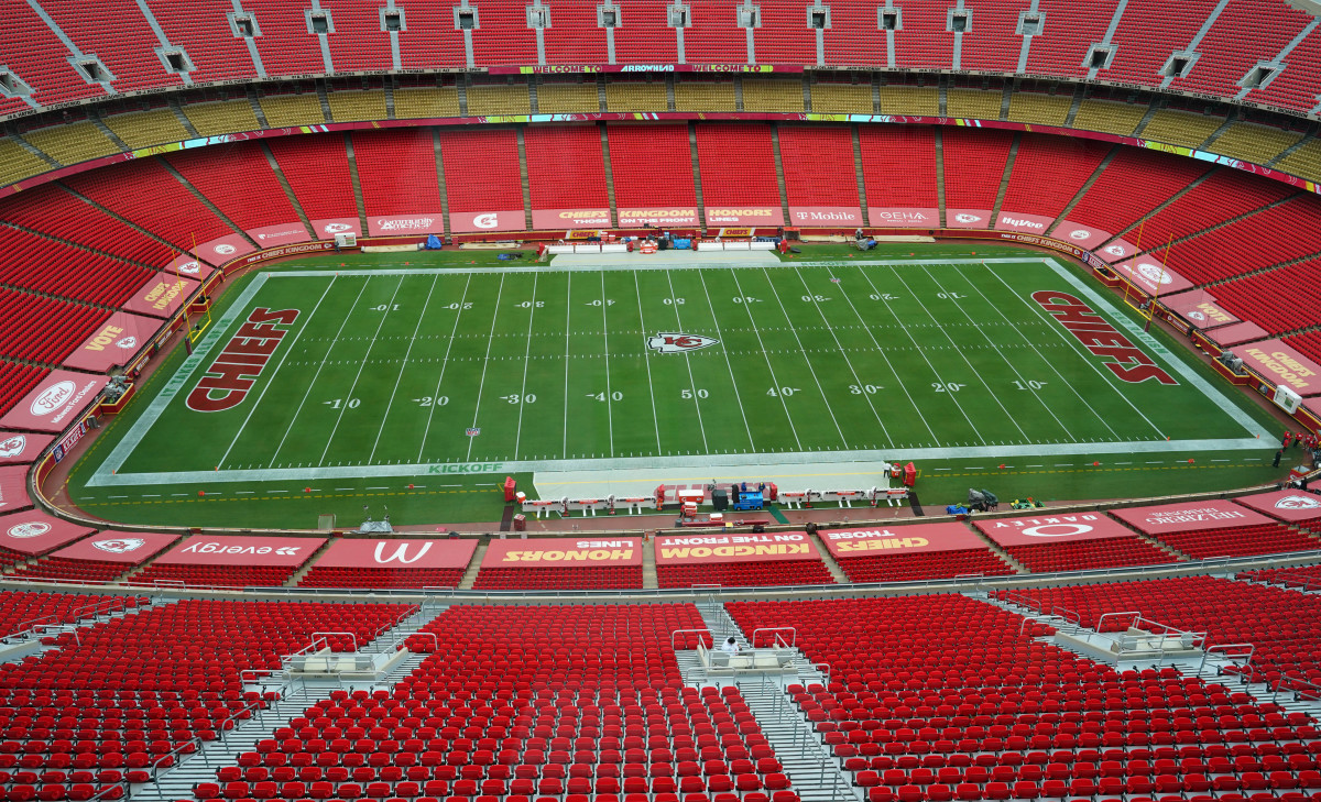 A general view of the field before the game between the Kansas City Chiefs and Houston Texans at Arrowhead Stadium.