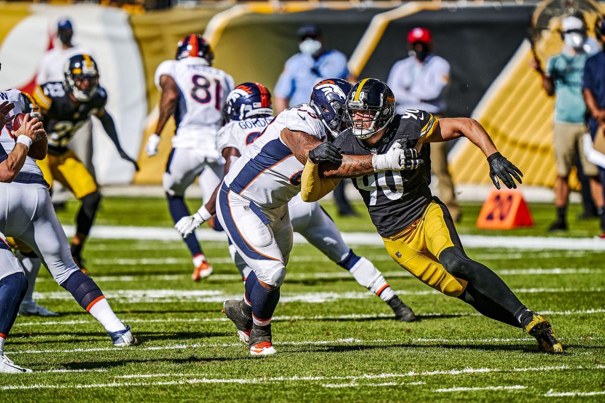 TJ Watt rushes the passer against the Denver Broncos in Week 2 of the 2020 season