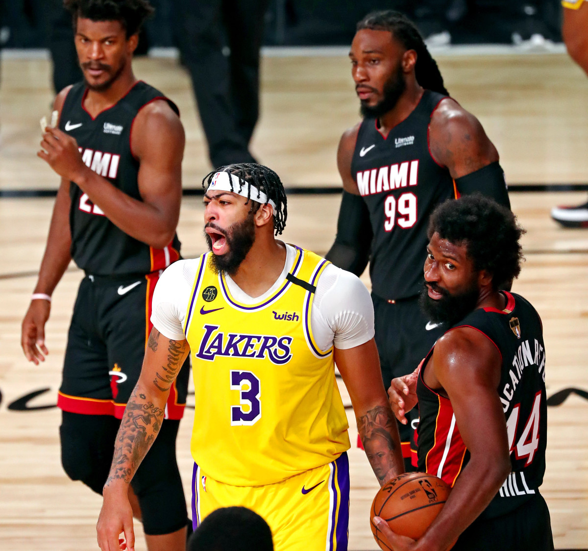 Los Angeles Lakers forward Anthony Davis (3) reacts after a foul during the fourth quarter against the Miami Heat in game one of the 2020 NBA Finals at AdventHealth Arena.