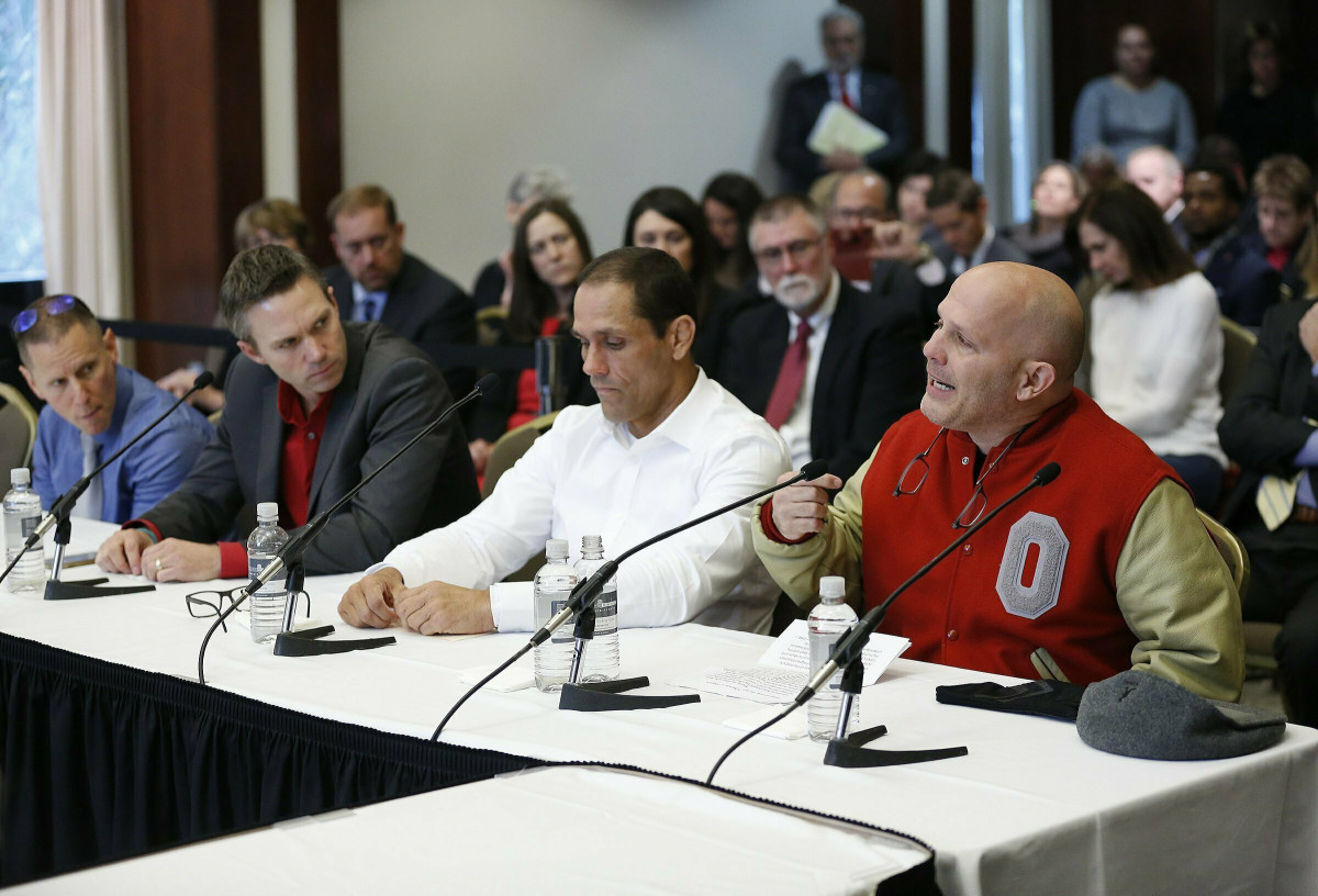In 2018, victims of Strauss, including, from right, Michael DiSabato, Mike Schyck, Brian Garrett and Stephen Snyder-Hill, spoke at an Ohio State University Board of Trustees meeting.