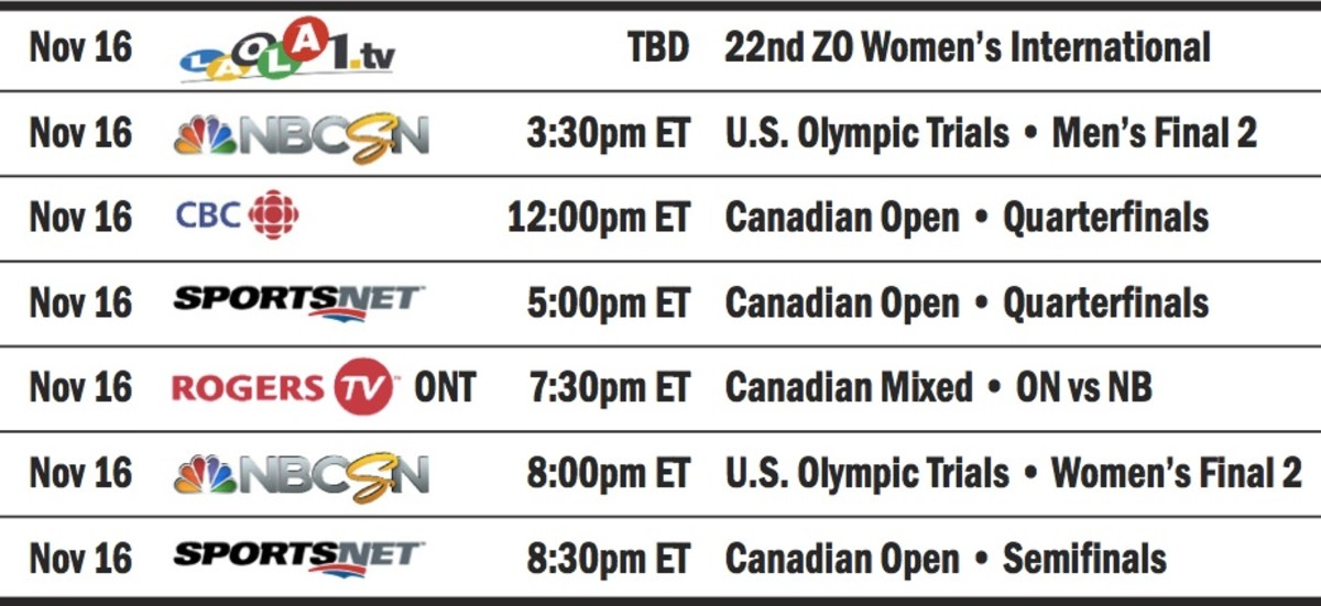 The November/December Curling TV/Web Guide is packed. Absolutely packed. Here's just one day of listings...