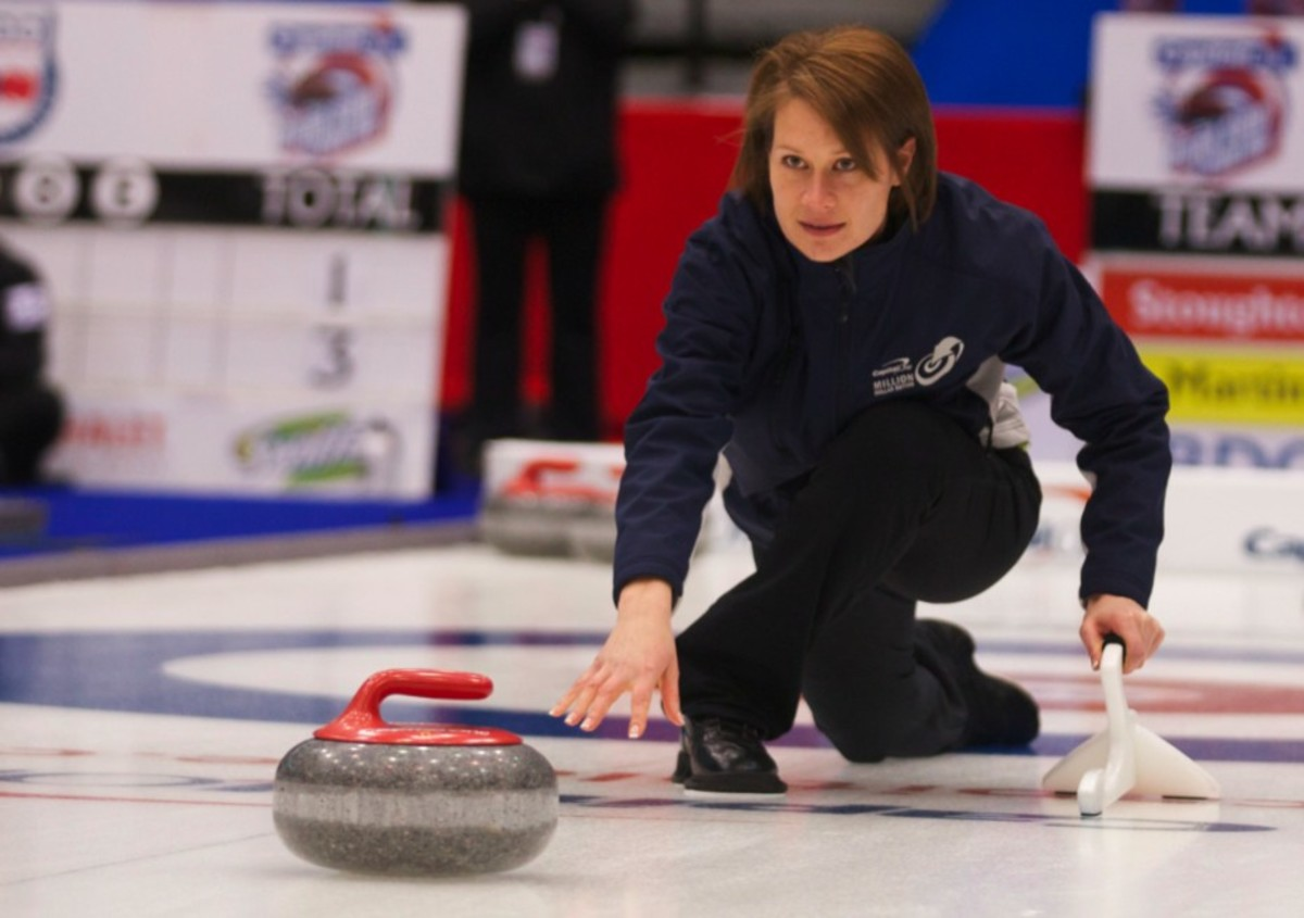 Teri Schiman does NOT look like a non-curler. She throws for up to $1 million on Sunday