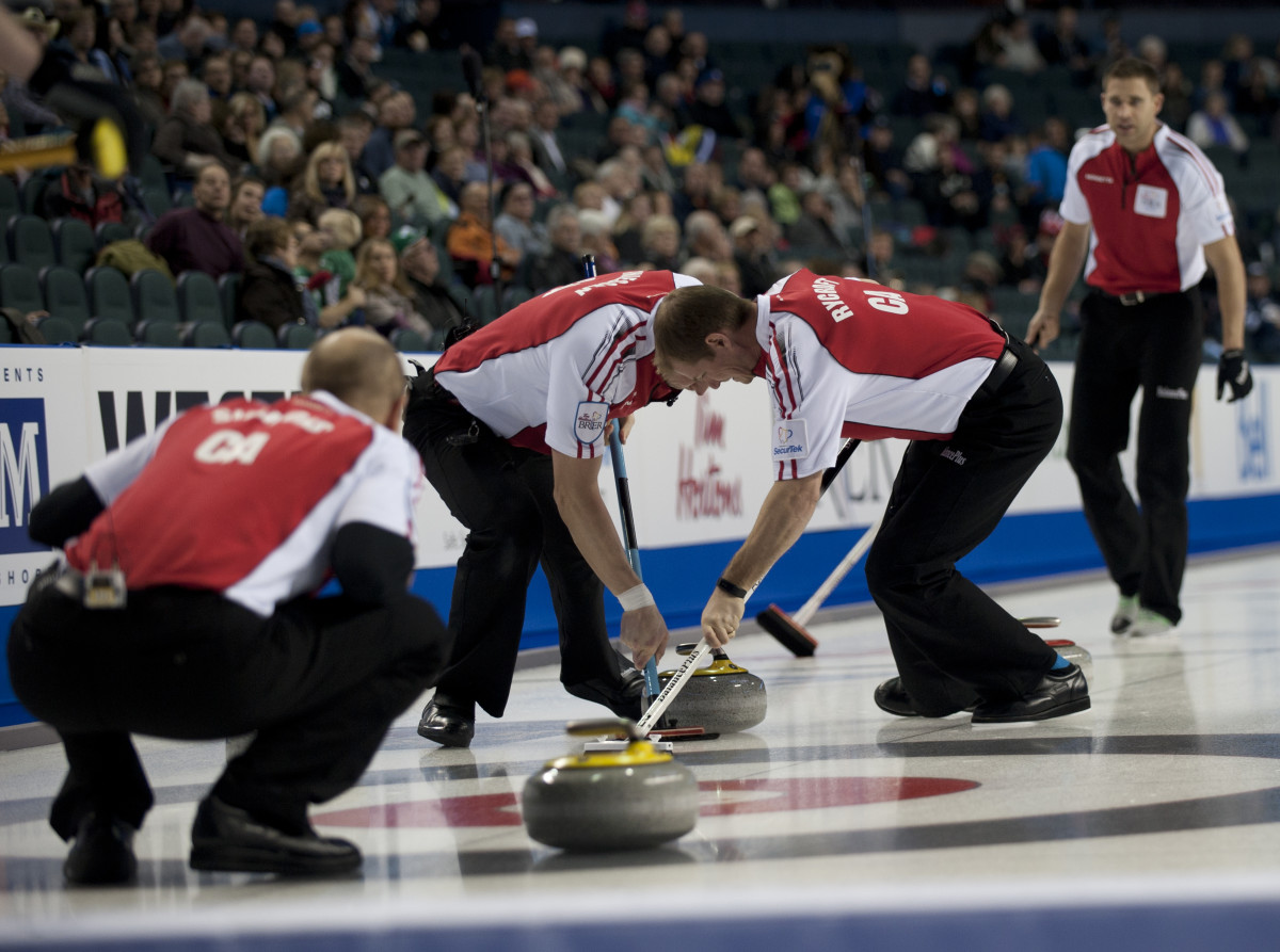 2015, Calgary Ab, Tim Hortons Brier, Team Canada skip John Morris, third Pat Simmons, second Carter Rycroft, lead Nolan Thiessen, Curling Canada/michael burns photo