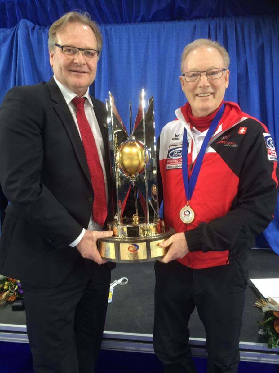 Armin Harder (left) with National Coach Al Moore and the WWCC Trophy