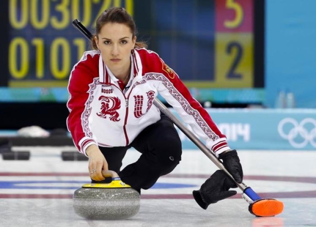Women's team skip Anna Sidorova at Sochi 2014