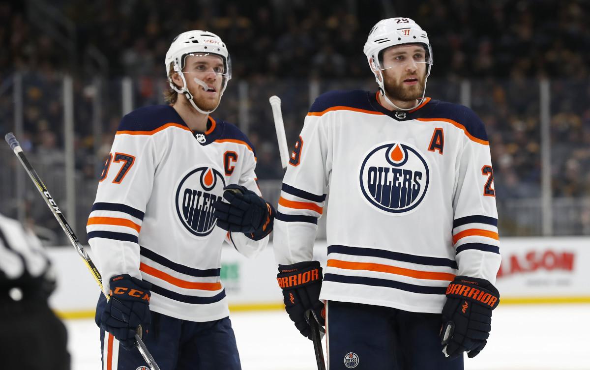 Connor McDavid and Leon Draisaitl of the Edmonton Oilers.