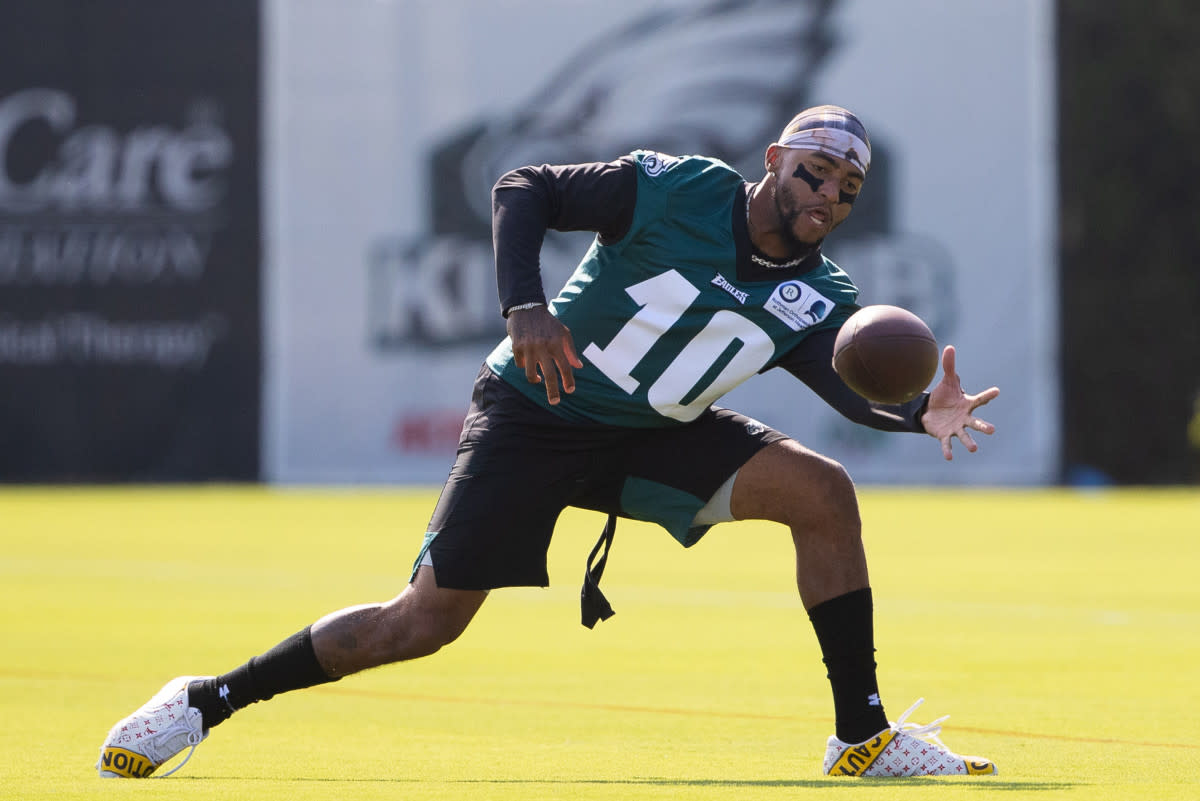 Eagles wide receiver DeSean Jackson catches the ball during training camp at Novacare Complex.