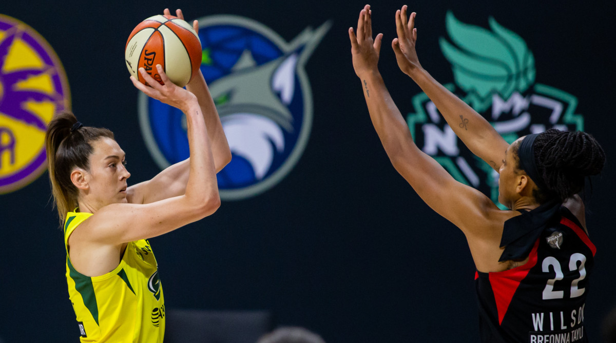 Seattle Storm forward Breanna Stewart (30) attempts a shot during game one of the WNBA finals against the Las Vegas Aces at IMG Academy.