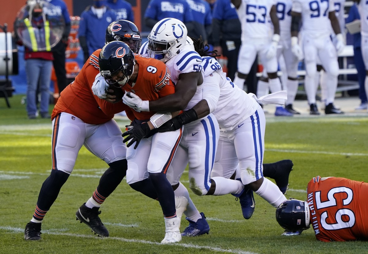 Indianapolis Colts defensive end Justin Houston (50) sacks Chicago Bears quarterback Nick Foles (9) in Sunday's 19-11 road win at Soldier Field.