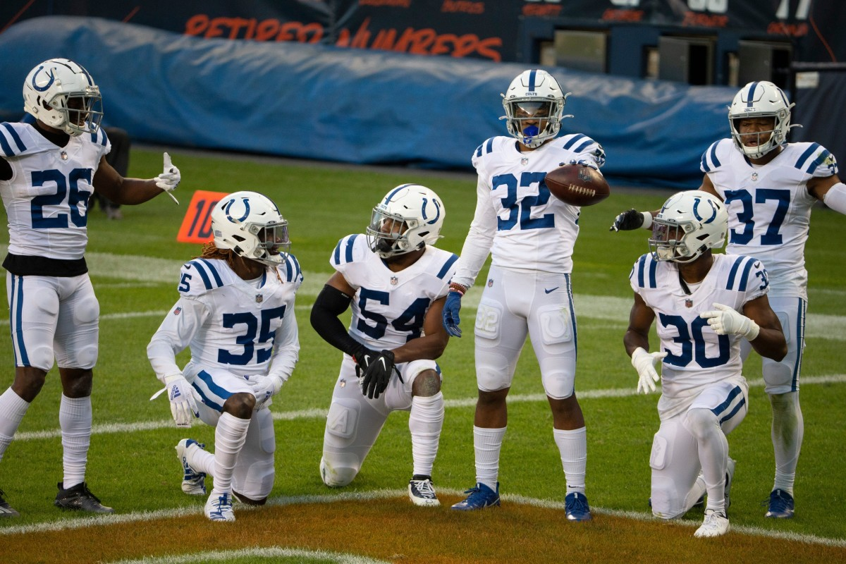 Indianapolis Colts rookie safety Julian Blackmon (32) celebrates his first NFL interception in Sunday's 19-11 road win over the Chicago Bears at Soldier Field.