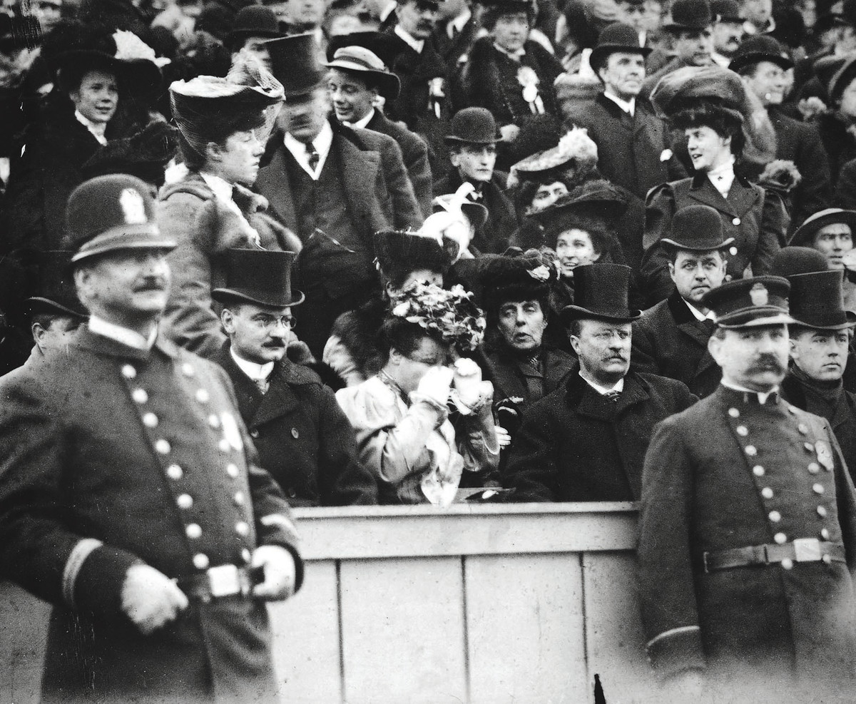 Concerned by the high number of deaths in college football, Roosevelt (at Army-Navy in 1905) prodded administrators from Harvard, Princeton and Yale into leading the reform movement that resulted in the NCAA.