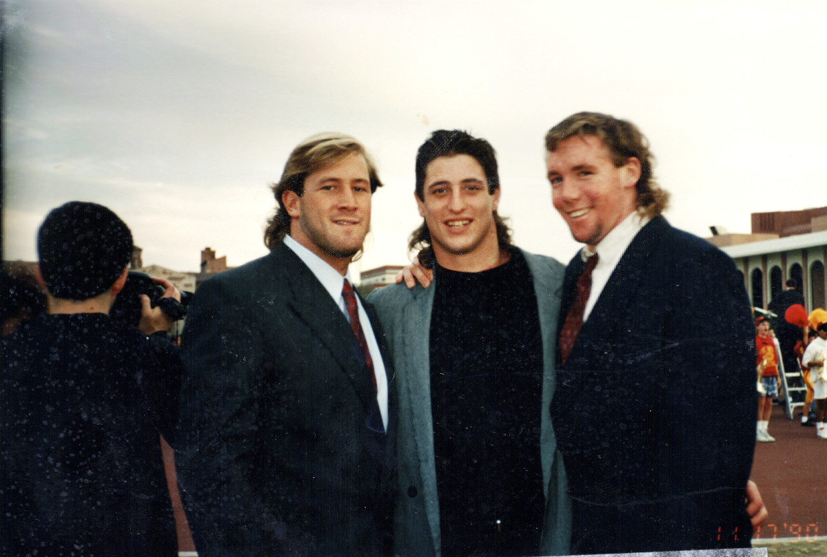 From left: Ross, Gee and Webb outside the Coliseum, in their Trojans heyday.