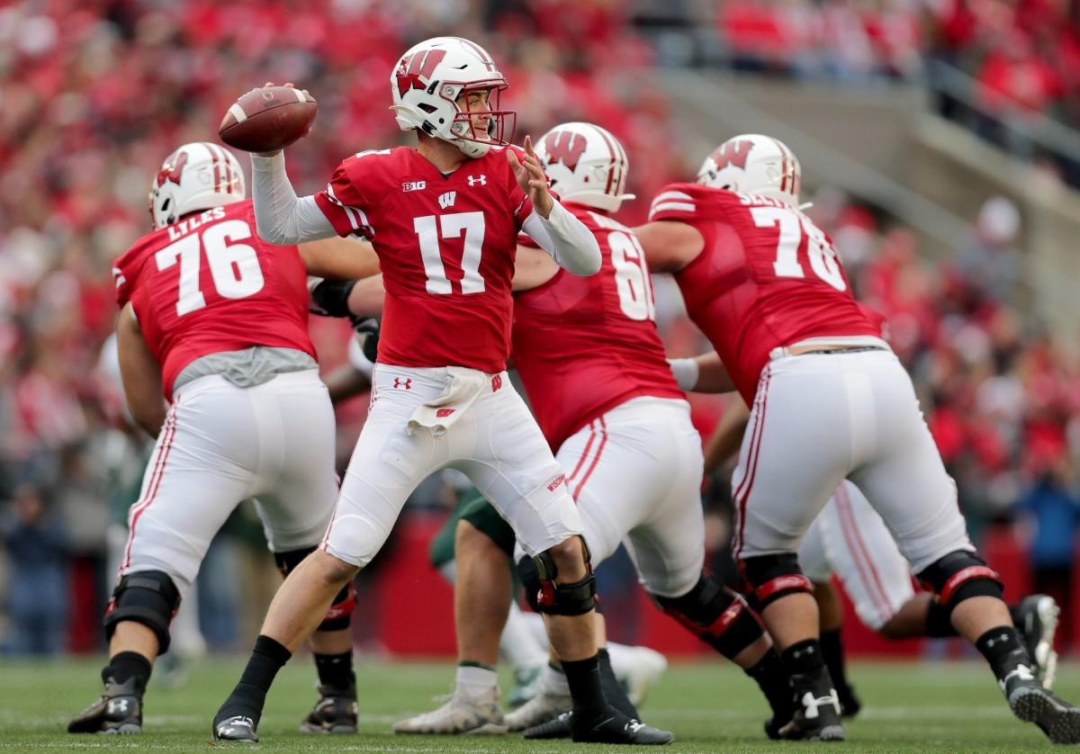 Wisconsin quarterback Jack Coan (17) has started 18 games for the Badgers, but he's going to miss a few weeks this season after having foot surgery on Tuesday. (Mike DiSisti/USA TODAY Sports)