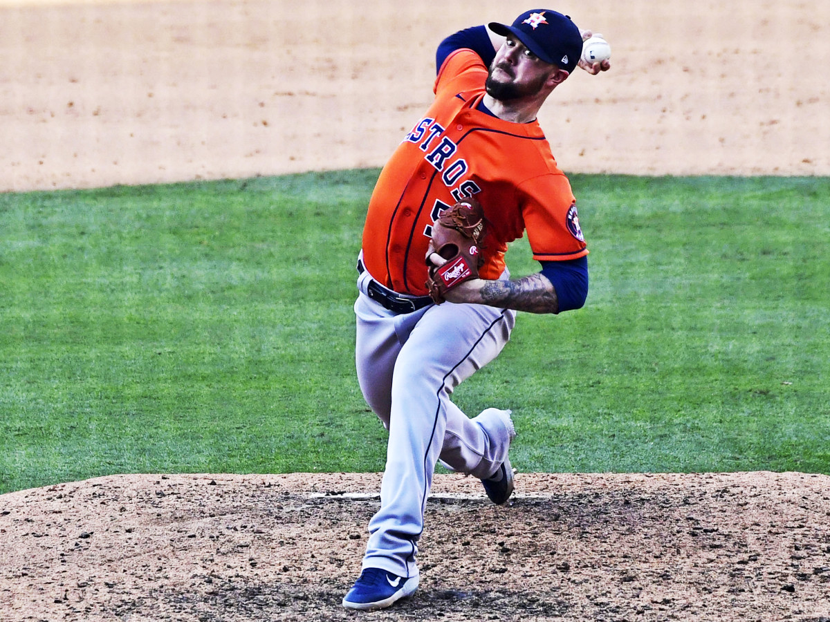 Oct 5, 2020; Los Angeles, California, USA; Houston Astros relief pitcher Ryan Pressly (55) in the ninth inning of game one of the 2020 ALDS against the Oakland Athletics at Dodger Stadium.