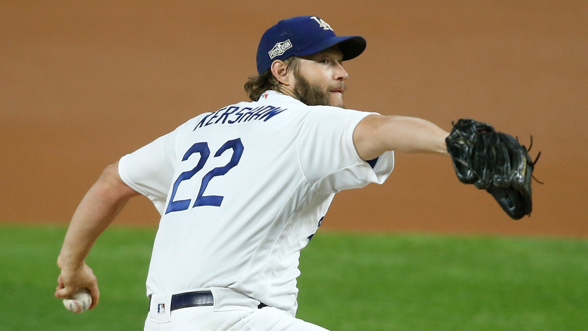 Los Angeles Dodgers starting pitcher Clayton Kershaw (22) pitches against the San Diego Padres during the first inning in game two of the 2020 NLDS at Globe Life Field.