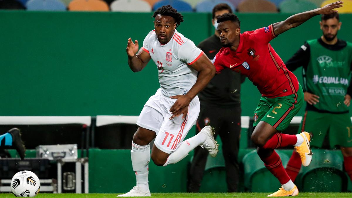 Adama Traore plays for Spain vs Portugal