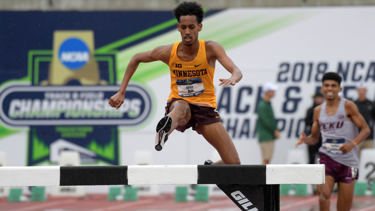 Obsa Ali wins the 2018 NCAA outdoor track and field steeplechase title for Minnesota.