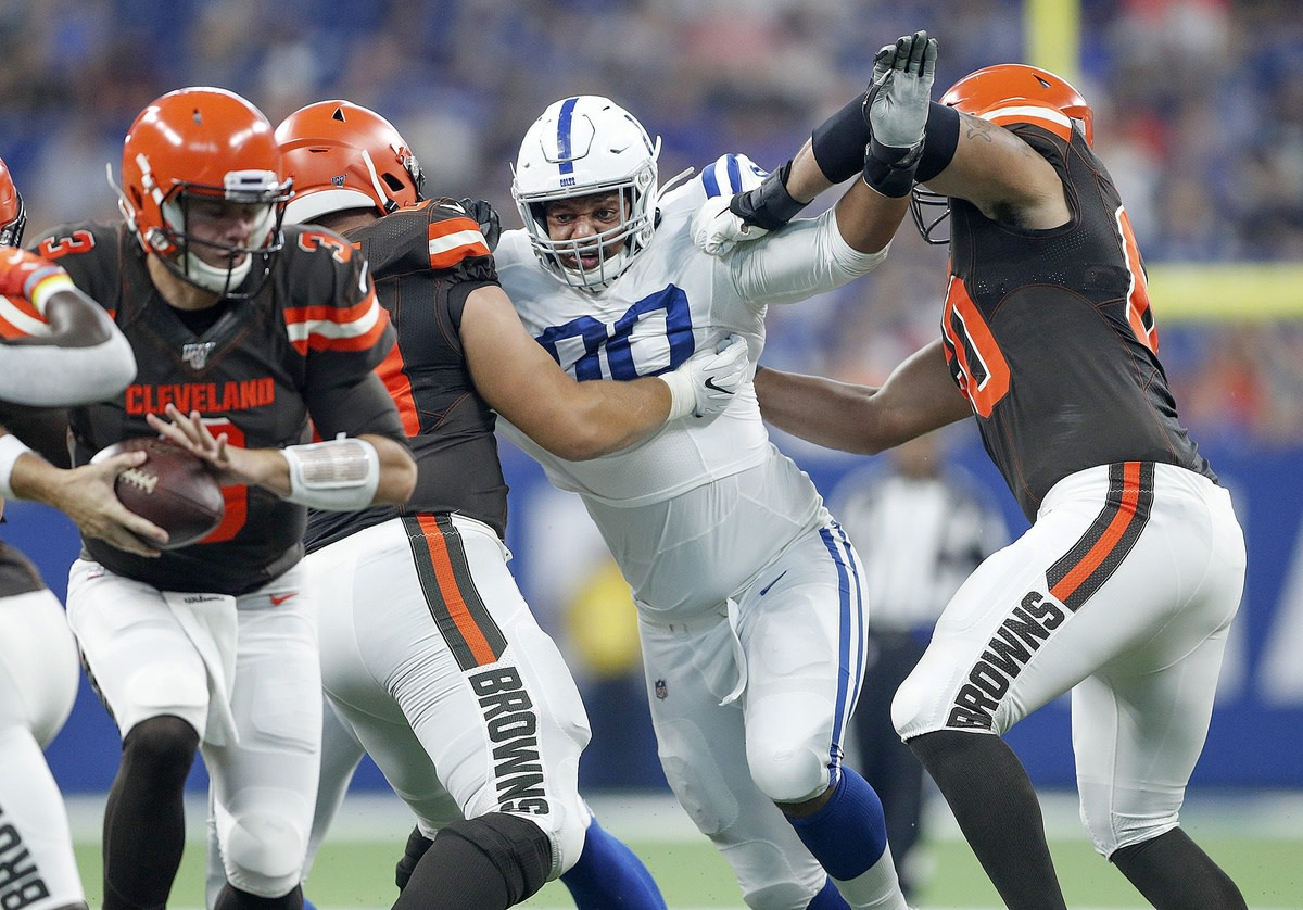 Defensive tackle Grover Stewart (90) and the Indianapolis Colts visit the Cleveland Browns on Sunday.