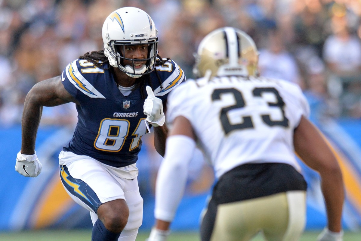 Aug 25, 2018; Carson, CA, USA; Los Angeles Chargers wide receiver Mike Williams (81) is defended by New Orleans Saints cornerback Marshon Lattimore (23) during the first quarter at StubHub Center. Mandatory Credit: Jake Roth-USA TODAY