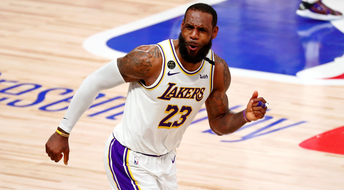 Los Angeles Lakers forward LeBron James celebrates after a play