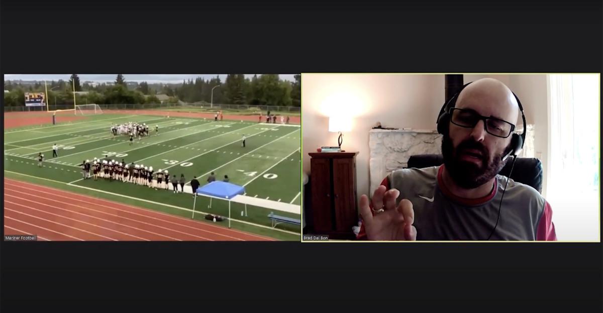 Brad Dal Bon coaches the Homer (Alaska) Mariners over Zoom