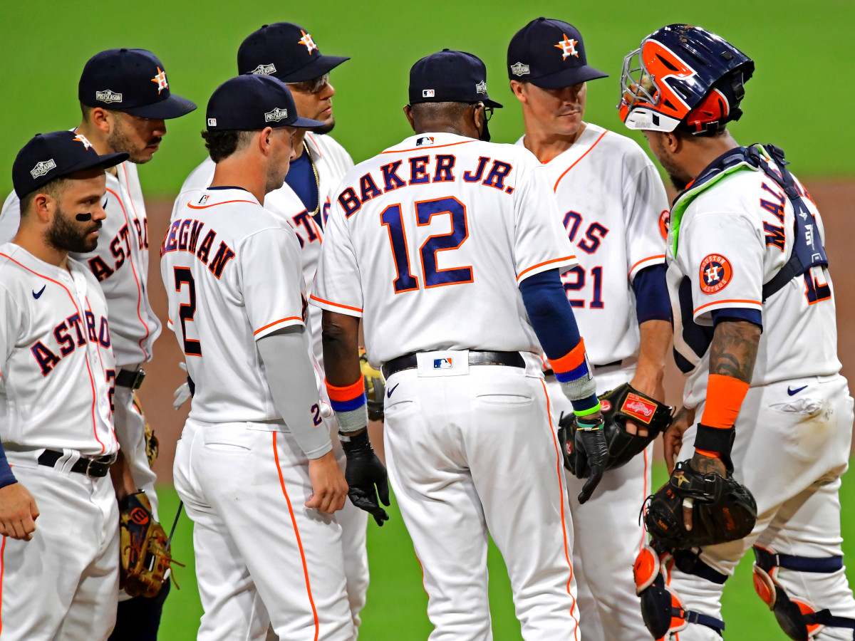 Oct 14, 2020; San Diego, California, USA; Houston Astros manager Dusty Baker talks with starting pitcher Zack Greinke (21) on the mound during the sixth inning against the Tampa Bay Rays during game four of the 2020 ALCS at Petco Park.