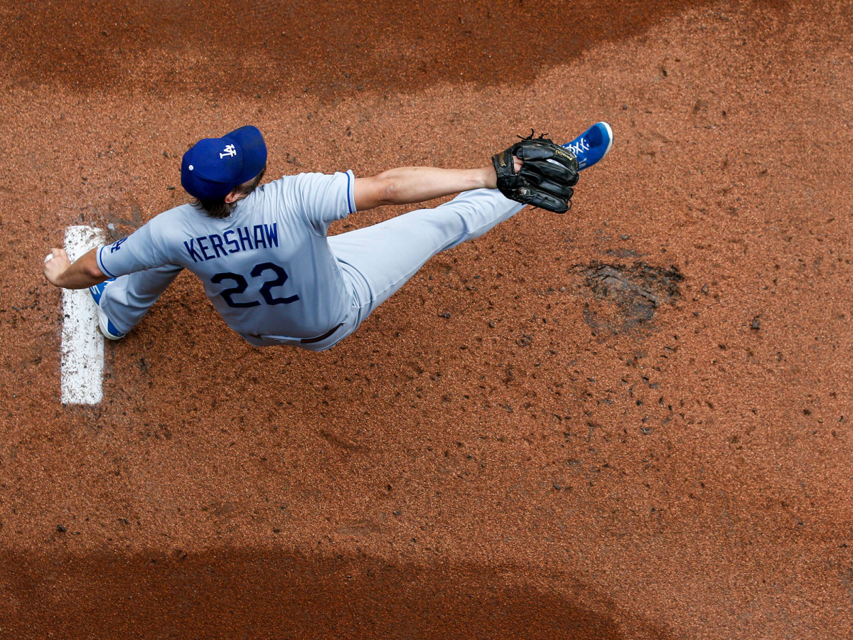 Overhead shot of Clayton Kershaw throwing