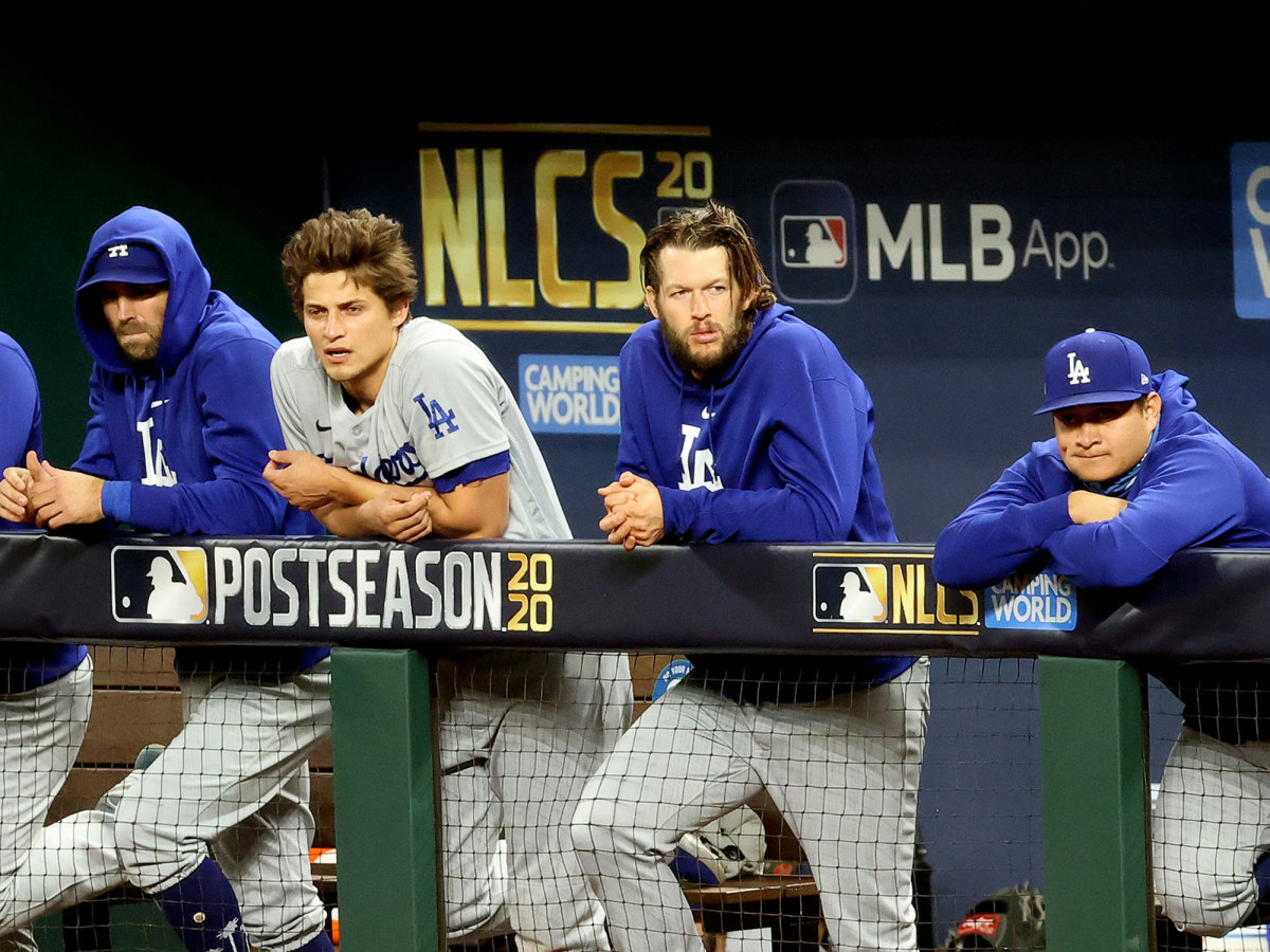 Clayton Kershaw in the dugout