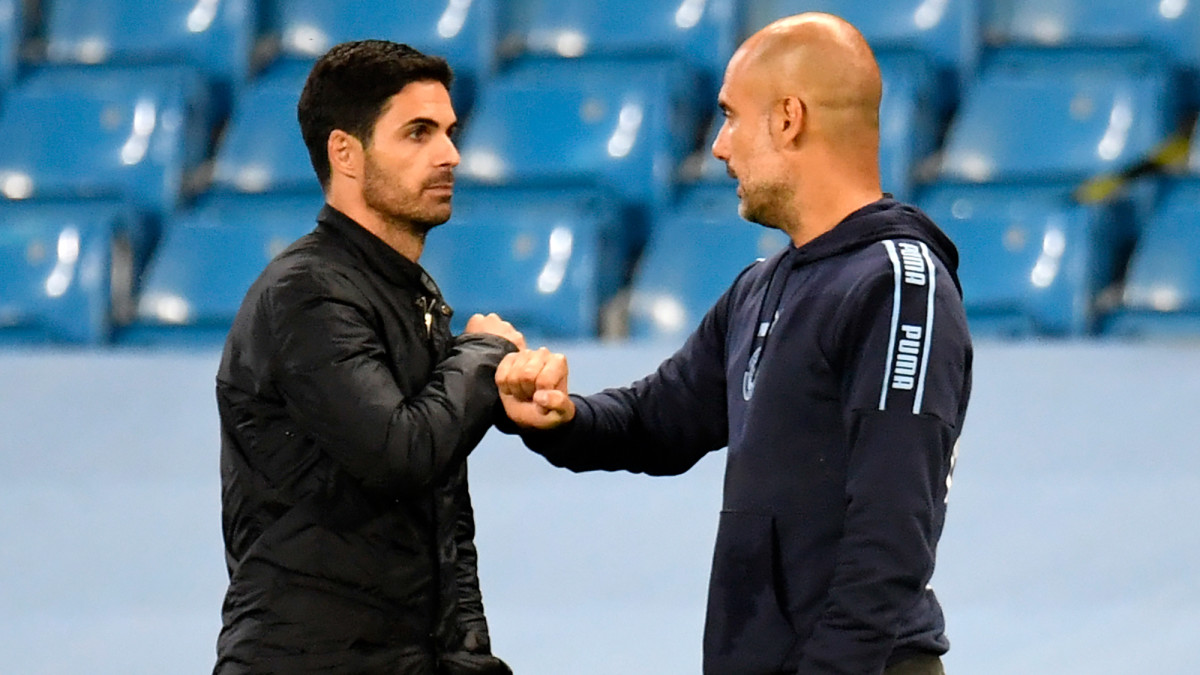 Managers Mikel Arteta and Pep Guardiola